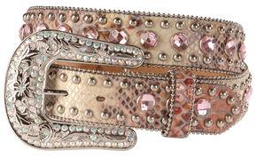 Blazin Roxx Pink Snake Print Bling Belt, Pink, hi-res