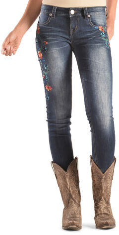 Grace in LA Women's Floral Embroidered Skinny Jeans, , hi-res