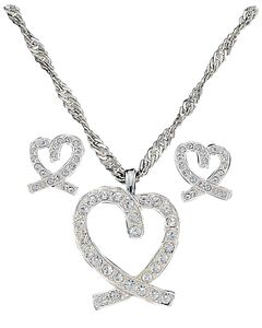 Montana Silversmiths A Caring Heart in Clear Rhinestones Necklace & Earrings Set, , hi-res