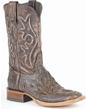 Stetson Winona Hand Tooled Distressed Cowgirl Boots - Square Toe, Brown, hi-res