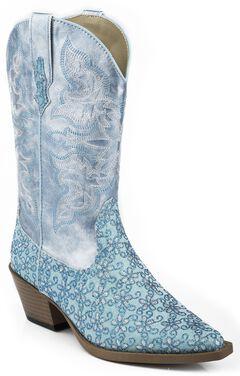Roper Girls' Blue Floral Glitter Cowgirl Boots - Snip Toe, , hi-res