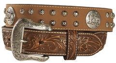 Nocona Studded Cowboy Faith Concho Leather Western Belt, , hi-res