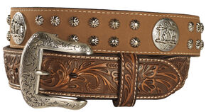 Nocona Studded Cowboy Faith Concho Leather Western Belt, Tan, hi-res