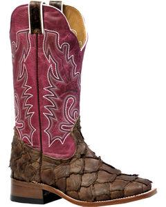Boulet Pirarucu Seal Brown Magenta Cowgirl Boots - Square Toe, , hi-res