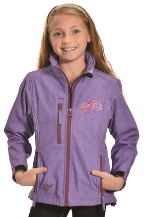 Cowgirl Hardware Girls' Purple Zebra Heart Poly-shell Jacket, Purple, hi-res