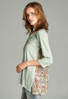 Hyku Women's Green Patch Detailed Washed Top, , hi-res