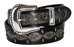 Stetson Fancy Overlay Distressed Leather Belt, , hi-res