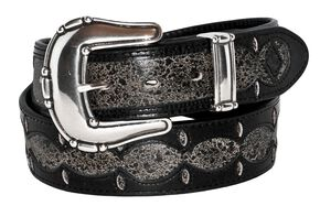 Stetson Fancy Overlay Distressed Leather Belt, Black Distressed, hi-res