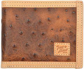 Tony Lama Ostrich Print Bi-Fold Wallet, Tan, hi-res