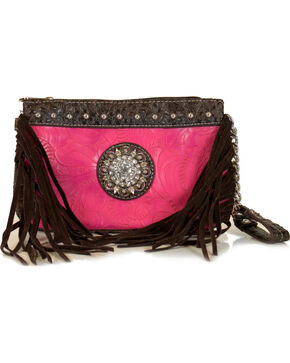 Savana Women's Side Fringe Wristlet Wallet , Pink, hi-res