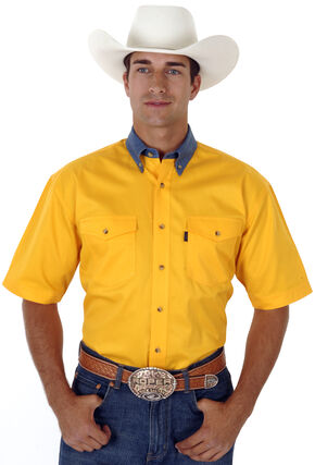 Roper Solid Twill Contrasting Denim Collar Short Sleeve Shirt, Yellow, hi-res