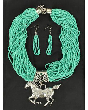 Blazin Roxx Beaded Horse Necklace & Earrings Set, Turquoise, hi-res