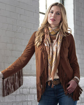 Ryan Michael Women's Fringe Leather Jacket, Tan, hi-res
