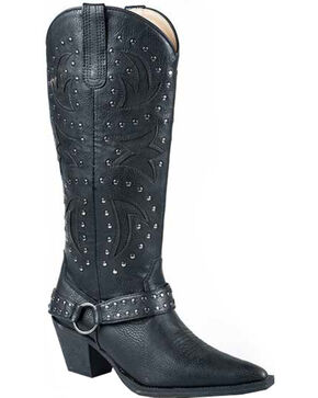 Roper Black Tumbled Harness Cowgirl Boots - Pointed Toe, Black, hi-res
