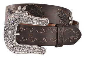 Justin Country Daisy Belt, Dark Brown, hi-res