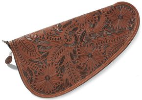 3D Large Floral Tooled Leather Pistol Case, Tan, hi-res