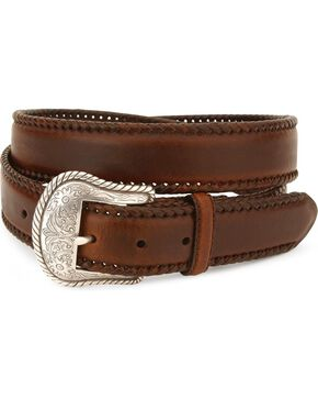 Nocona Concho Laced Leather Belt - Reg & Big, Brown, hi-res