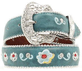 Blazin Roxx Girls' Turquoise Floral Embroidered Belt - 18-28, Turquoise, hi-res