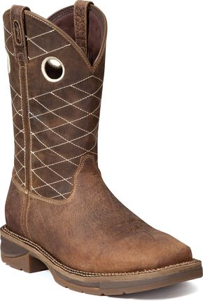 Durango Rebel Fancy Stitched Work Boots - Steel Toe, Chocolate, hi-res