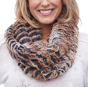 Shyanne Women's Brown Faux Fur Eternity Scarf, Brown, hi-res