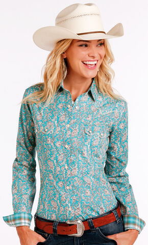 Panhandle Slim Women's Turquoise Two Pocket Long Sleeve Shirt , Turquoise, hi-res