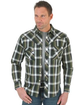 Wrangler Men's Green and Black Plaid Western Jean Shirt , Green, hi-res
