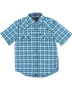 Cody James Boys' Short Sleeve Plaid Sawtooth Western Shirt, Blue, hi-res
