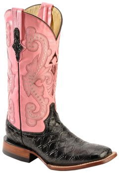 Ferrini Blush Pink Anteater Print Cowgirl Boots - Wide Square Toe, , hi-res