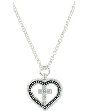 Montana Silversmiths Women's Silver All You Need Is Faith & Love Heart Necklace , Silver, hi-res
