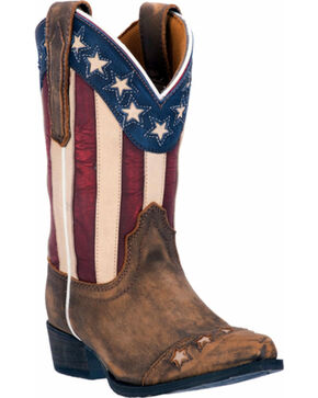 Dan Post Youth Boys' Lil' Liberty Cowboy Boots - Snip Toe, Tan, hi-res