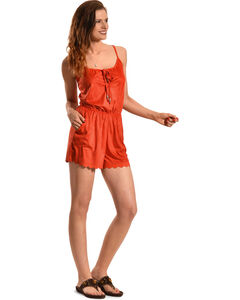 Derek Heart Women's Orange Faux Suede Romper , , hi-res