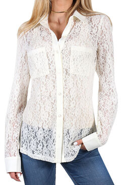 Shyanne Women's Floral Lace Long Sleeve Blouse, , hi-res