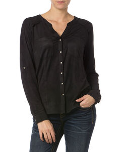 Miss Me Black Y-Neck Snap Front Top, , hi-res