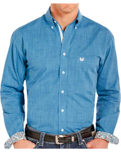 Rough Stock by Panhandle Men's Solid Wash Long Sleeve Shirt, Blue, hi-res