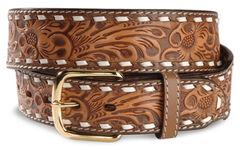 Floral Tooled Leather Belt, , hi-res
