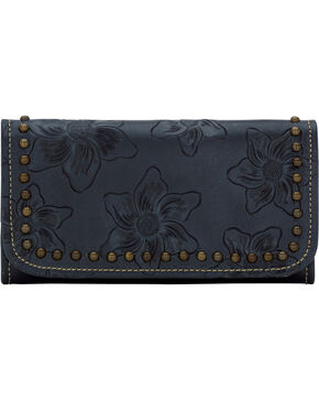 American West Women's Flower Child Leather Tri-Fold Wallet, Blue, hi-res