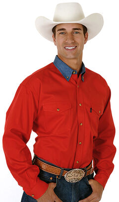 Roper Men's Red Twill with Denim Collar Long Sleeve Western Shirt, , hi-res