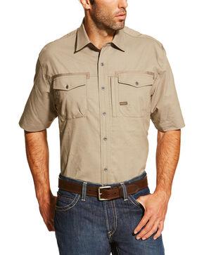 Ariat Men's Khaki Rebar Short Sleeve Work Shirt - Big , Beige/khaki, hi-res