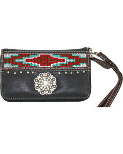 Savana Women's Black Aztec Medallion Wallet, , hi-res