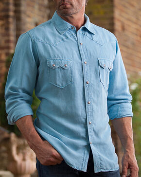 Ryan Michael Men's Blue Silk Linen Sawtooth Snap Shirt, Blue, hi-res