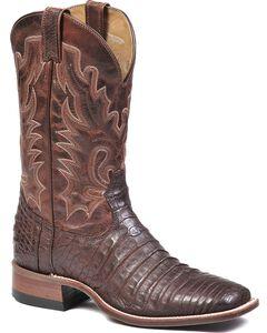 Boulet Brown Caimain Belly Cowboy Boots - Square Toe, , hi-res