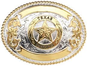 "AndWest ""Texas Ranger"" Gold and Silver Plate Belt Buckle , Two Tone, hi-res"