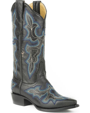 Stetson Women's Blake Black Crackle Western Boots - Snip Toe, Black, hi-res