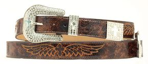 Nocona Cross & Wing Embroidered Distressed Leather Belt, Brown, hi-res
