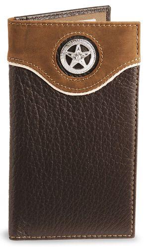 Nocona Star Concho Leather Checkbook Wallet, Brown, hi-res