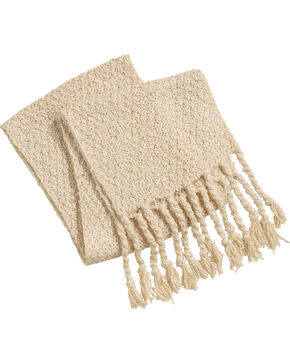 Shyanne Women's Knitted Tassel Trimmed Scarf, Cream, hi-res