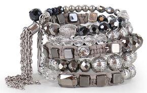 Shyanne Women's Beaded Coil Bracelet, Silver, hi-res