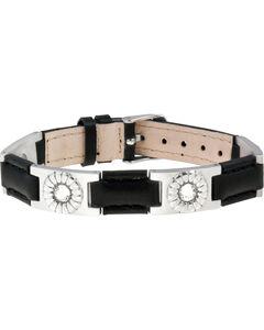 Sabona of London Black Leather Gem Stainless Magnetic Bracelet, , hi-res