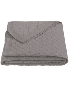 HiEnd Accents Diamond Pattern Grey Linen King Quilt, Grey, hi-res