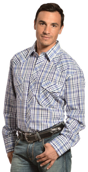 Gibson Trading Co. Blue Plaid Lurex Shirt, Blue, hi-res
